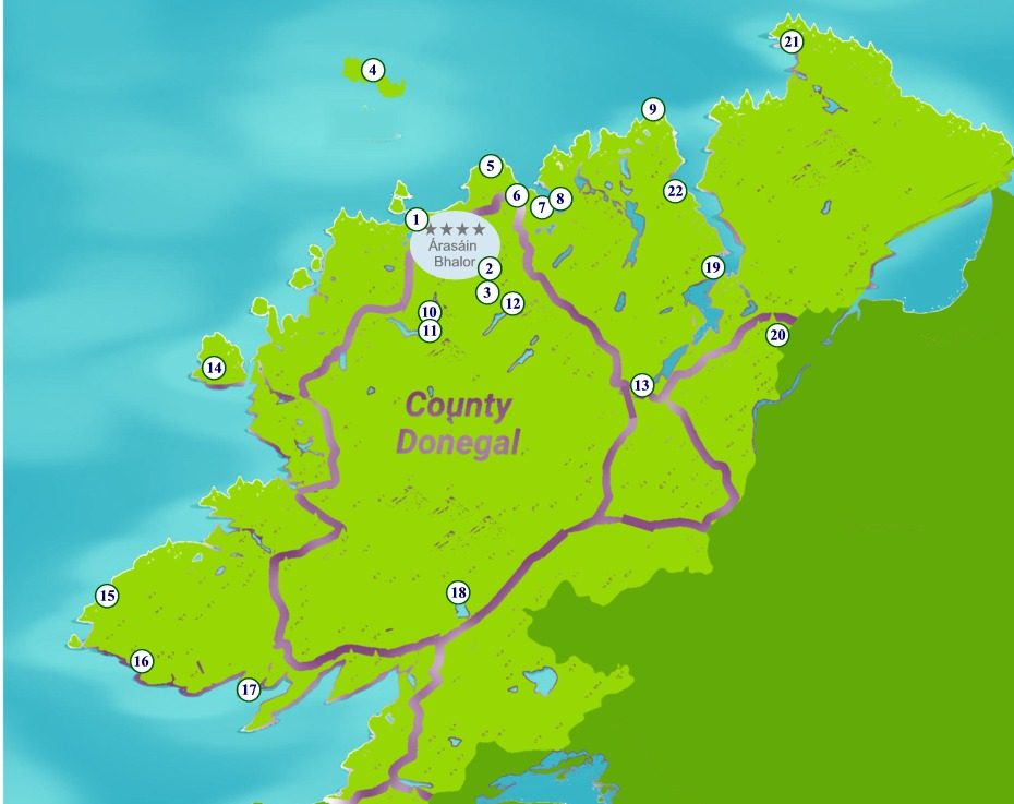 Map of County Donegal showing some of the major attractions near Árasáin Bhalor - 4 Star Self Catering Apartments & House, Falcarragh, Ireland