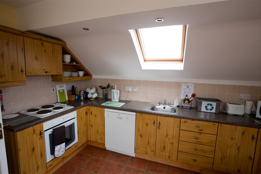 Kitchen in the second floor, 1 bedroom apartment at Árasáin Bhalor - 4 Star Self Catering Apartments & House, Falcarragh, County Donegal, Ireland