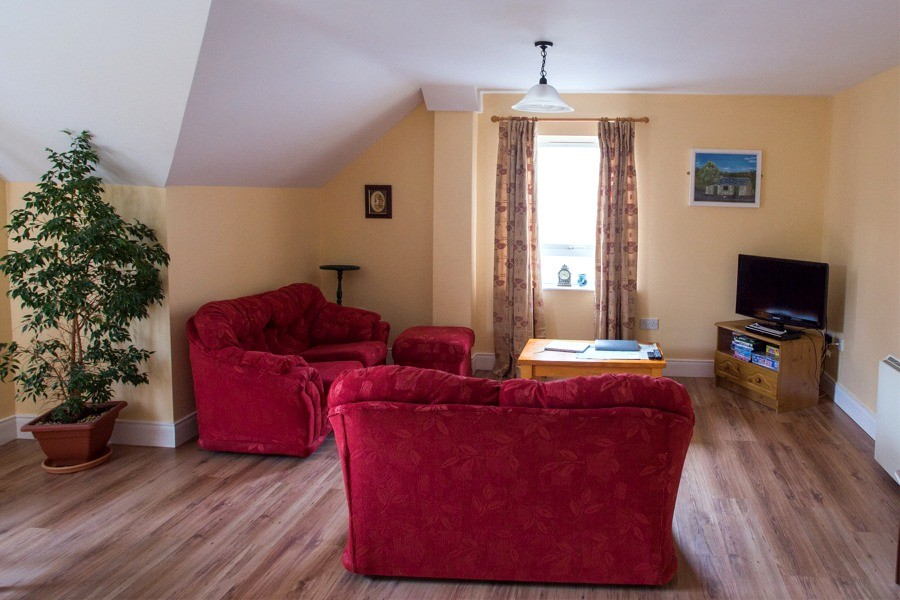 Living area in the first floor apartment at Árasáin Bhalor - 4 Star Self Catering Apartments & House, Falcarragh, County Donegal, Ireland