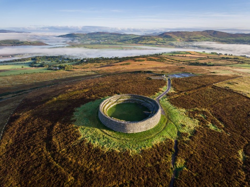 The Stone Fort of Grianán of Aileach sits on a hilltop in Inishowen with breathtaking views of Lough Foyle and Lough Swilly - convenient for touring from Árasáin Bhalor - 4 Star Self Catering Apartments & House, Falcarragh, County Donegal, Ireland