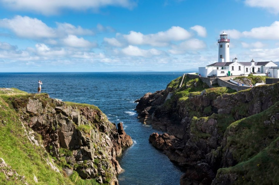 Teach Solais Fhánada / Fanad Head Lighthouse on the eastern shore of Fanad Peninsula (Fánaid),  with stunning views of Lough Swilly, County Donegal, Ireland
